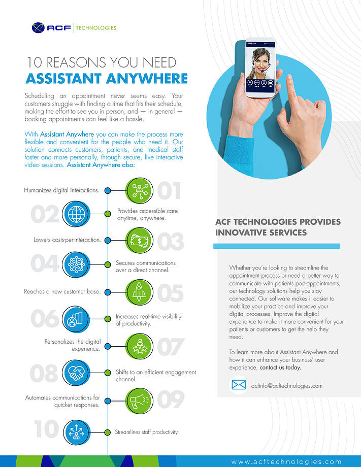 ACF Technologies Assistant Anywhere - Video Appointments – Virtual Queuing